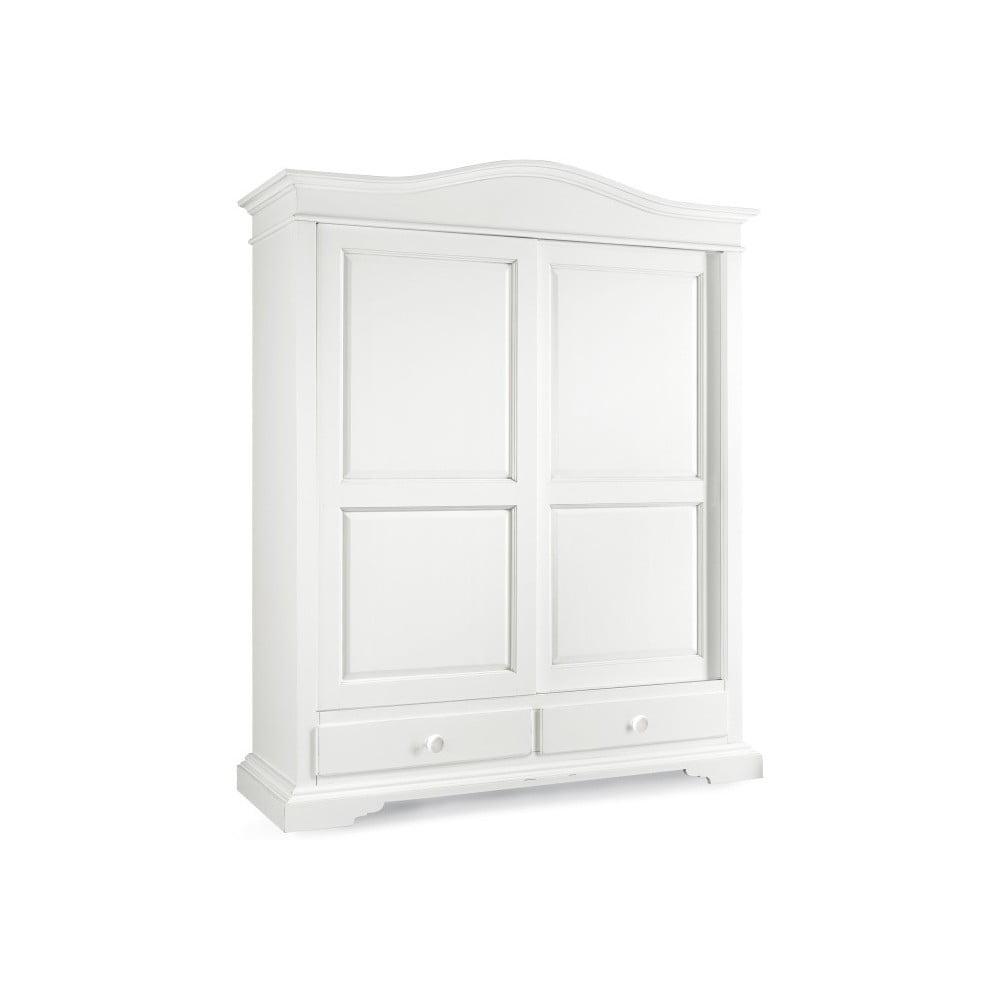 Bílá dřevěná šatní skříň s posuvnými dveřmi Castagnetti Lido