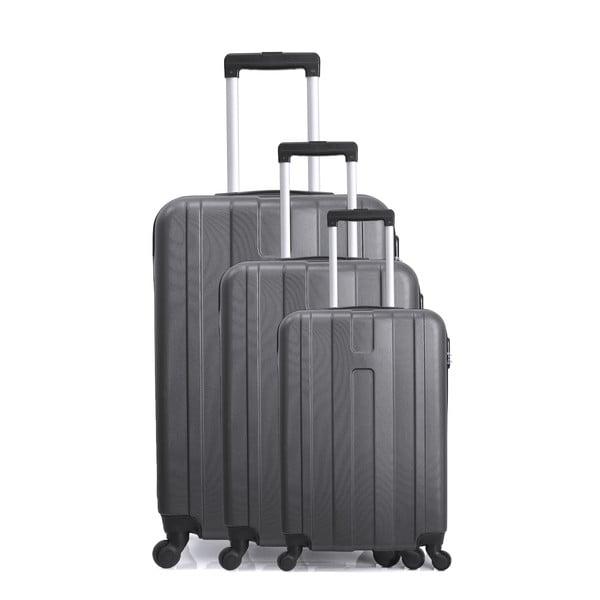 Sada 3 šedých cestovních kufrů na kolečkách Hero Atlanta