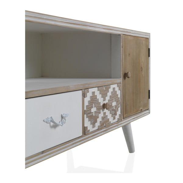 Masă TV cu detalii alb-negru și 2 sertare Geese Rustico Geometric
