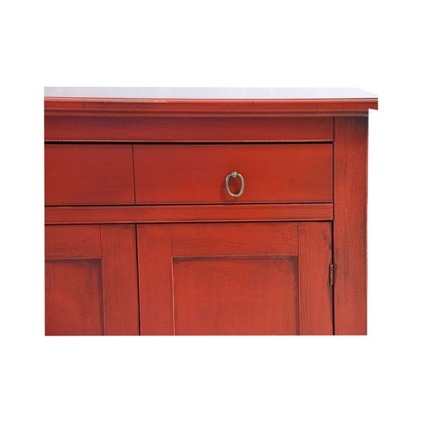 Červená komoda z masivního topolového dřeva Evergreen House Pacific