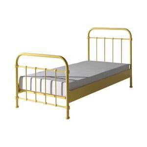 Žlutá kovová dětská postel Vipack New York, 90x200cm