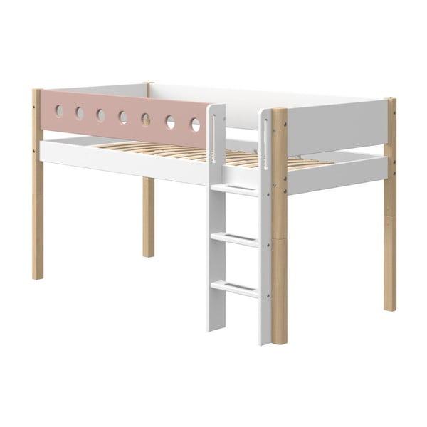 Różowo-białe dziecięce łóżko z nogami z drewna brzozowego Flexa White, wys. 120 cm