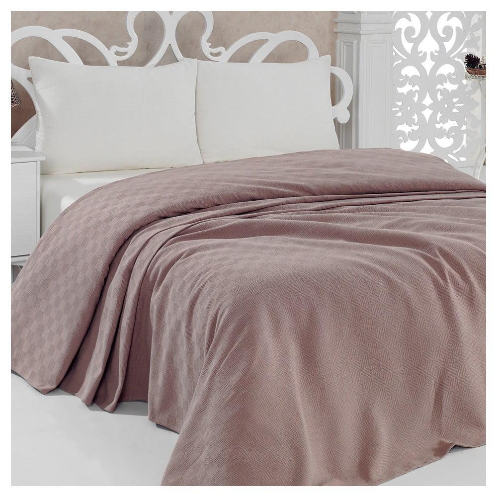 Lehký přehoz přes postel Pique Brown, 200x240 cm