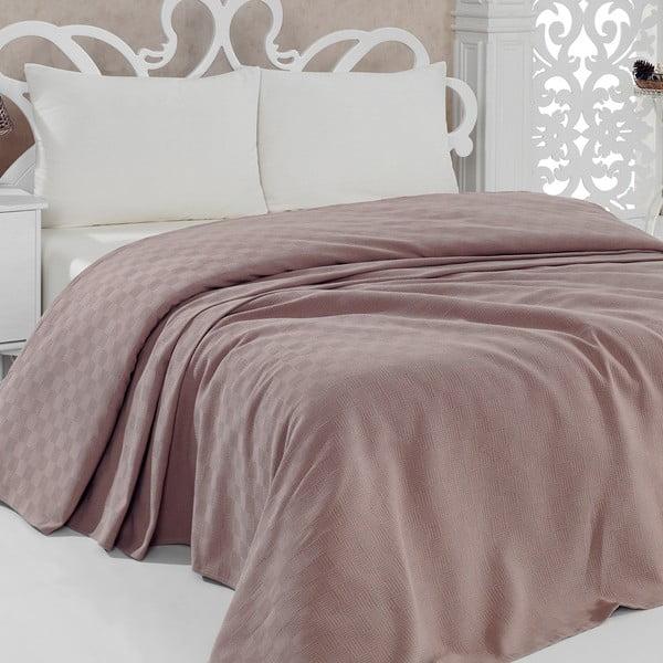 Lehký bavlněný přehoz přes postel Pique Brown, 200x240cm