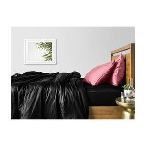 Sada 2 černo-růžových bavlněných povlečení na jednolůžko s černým prostěradlem COSAS Lago, 160 x 220 cm