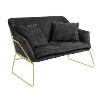 Canapea cu 2 locuri Leitmotiv Glam, negru
