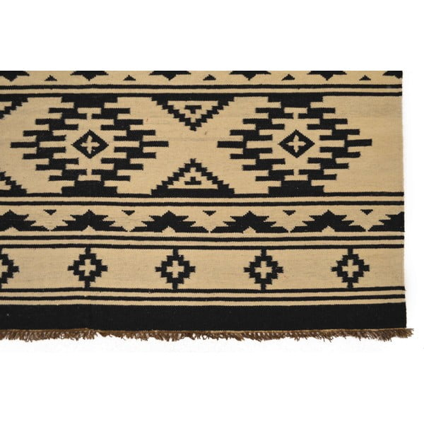 Ručně tkaný koberec Black and White Ethno, 170x240 cm