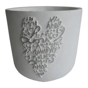 Bílý květináč Stardeco Srdce, 14 cm