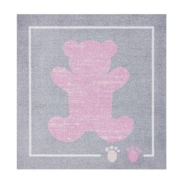 Dětský růžový-šedý koberec Zala Living Teddy, 100x100cm