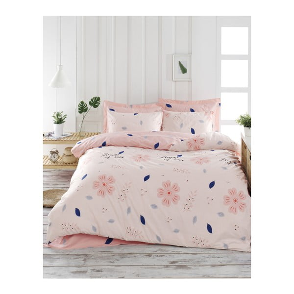 Lenjerie de pat din bumbac ranforce pentru pat de 1 persoană Mijolnir FlowerOfLove Powder, 140 x 200 cm