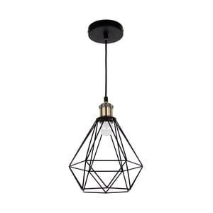 Černé závěsné svítidlo s mosaznou objímkou Masivworks Pyramid