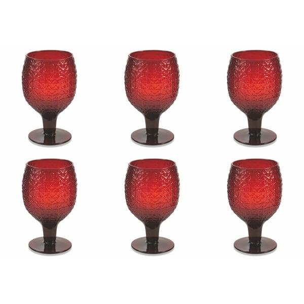 Sada 6 tmavě červených sklenic Villa d'Este Karma Calici, 300 ml