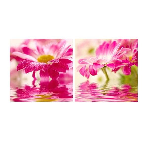 Set obrazů na skle Květina, 30x30 cm, 2 ks