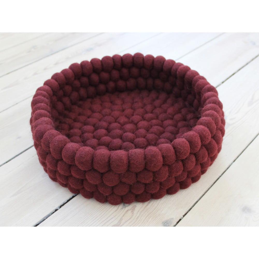 Tmavě višňový kuličkový vlněný úložný košík Wooldot Ball Basket, ⌀ 28 cm
