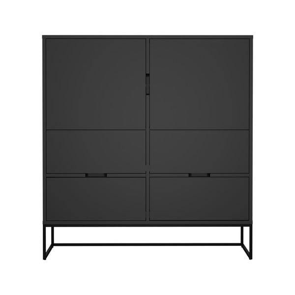 Dulap cu 2 uși și 4 sertare, MISTY Tenzo Lipp, înălțime 127 cm, negru
