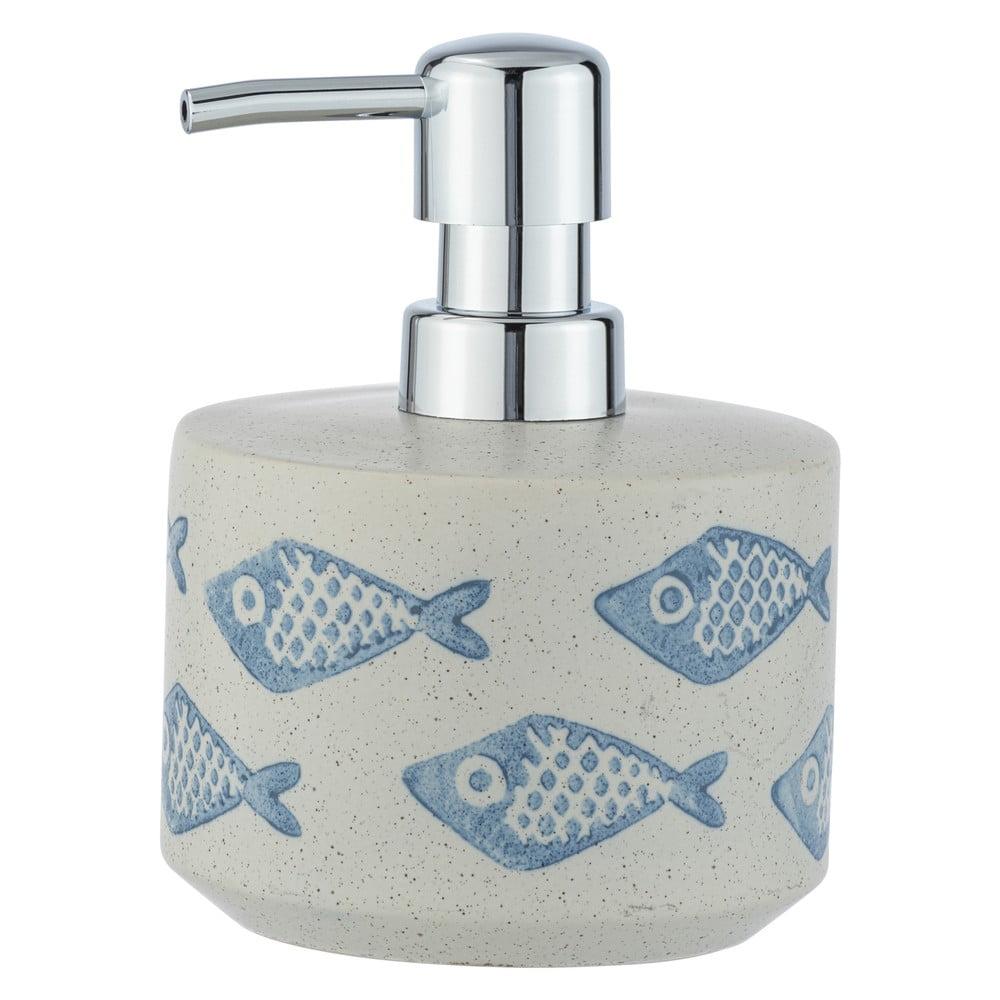 Produktové foto Modro-bílý kreamický dávkovač na mýdlo Wenko Aquamarin, 475ml