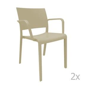 Sada 2 béžových zahradních židlí s područkami Resol Fiona