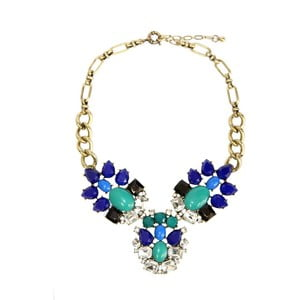 Náhrdelník s modrými a zelenými krystaly