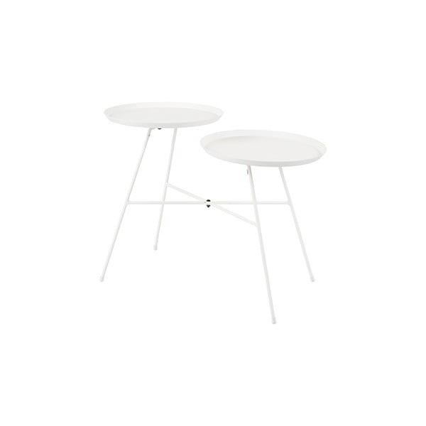 Bílý odkládací stolek White Label Indy