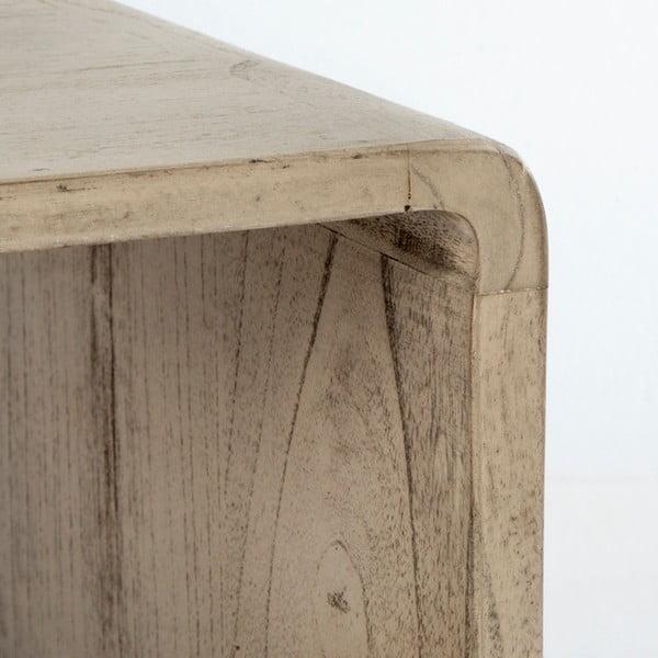 Šedý noční stolek z lakovaného dřeva Thai Natura, 50 x 51 cm
