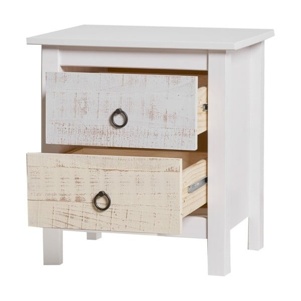 Noptieră cu 2 sertare din lemn masiv de pin Marckeric Flora