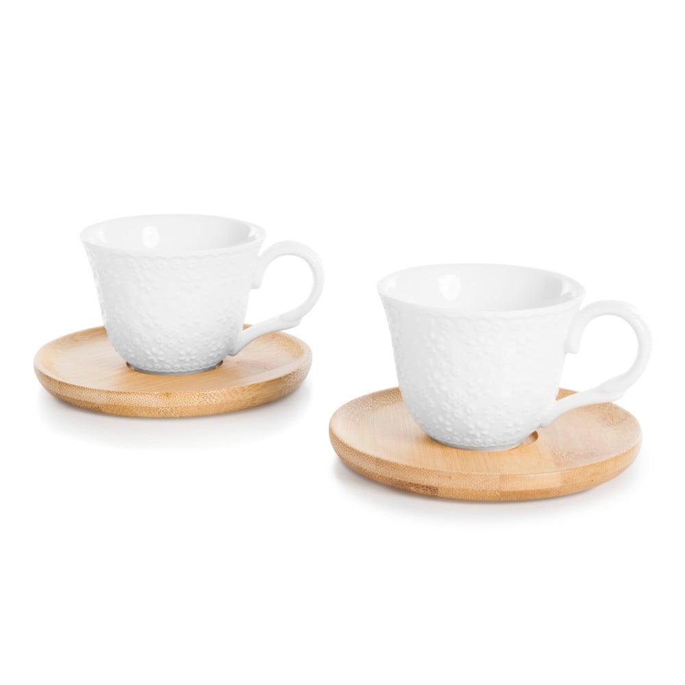 Sada 2 šálků na espresso s bambusovým podšálkem Bambum Flo