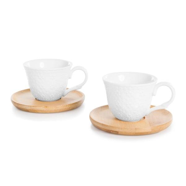 Sada 2 šálok na espresso s bambusovým tanierikom Bambum Flo