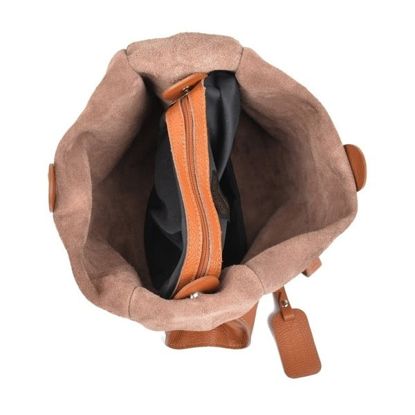 Koňakově hnědá kožená kabelka IsabellaRhea Leslie