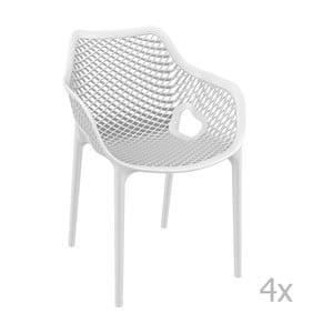 Sada 4  bílých zahradních židlí s područkami Resol Grid