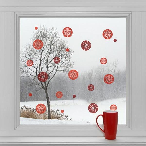 Elektrostatické vánoční samolepky Červené kulaté vločky