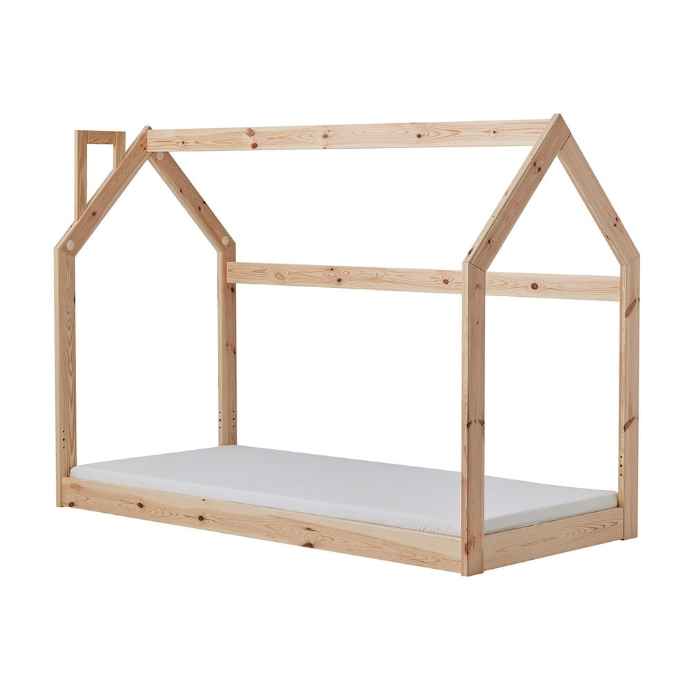 Dětská dřevěná postel ve tvaru domečku Pinio House, 200 x 90 cm