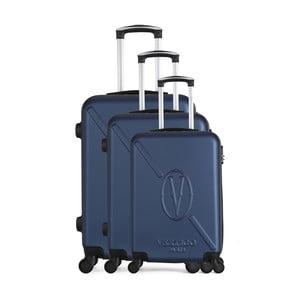 Sada 3 tmavě modrých cestovních kufrů na kolečkách VERTIGO Cadenas Integre Moues