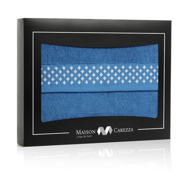 Set modré osušky a ručníku z bavlny Maison Carezza Lazio