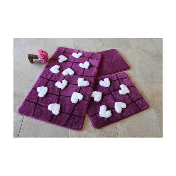 Sada 3 předložek do koupelny Violet Soft