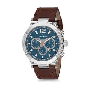 Pánské hodinky s hnědým koženým řemínkem a modrým ciferníkem Daniel Klein