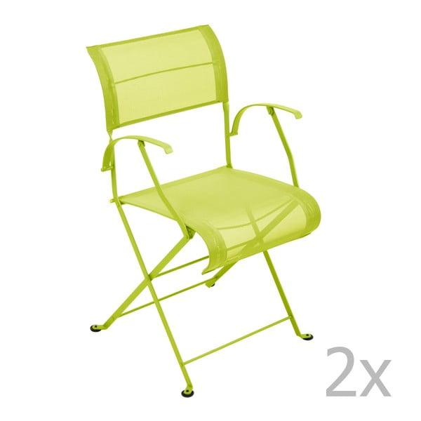 Sada 2 limetkově zelených skládacích židlí s područkami Fermob Dune