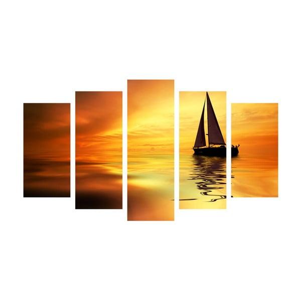 5dílný obraz Boat in Sunset, 60x100 cm