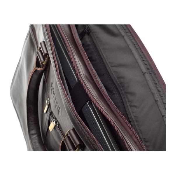 Pánská kožená taška Solier SL01, hnědá