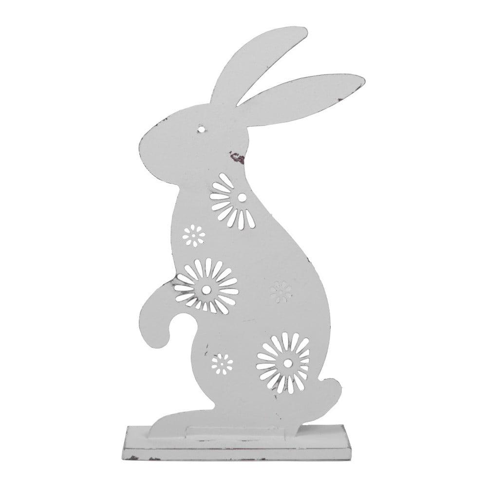 Bílá kovová dekorace zajíčka Ego Dekor, výška 24 cm