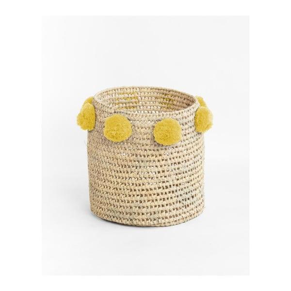 Sada 2 úložných košíků z palmových vláken se žlutými dekoracemi Madre Selva Milo Basket