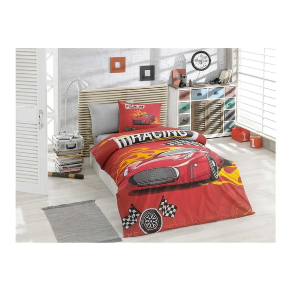 Povlečení z ranforce bavlny s prostěradlem na dvoulůžko Racing Red, 160 x 220 cm