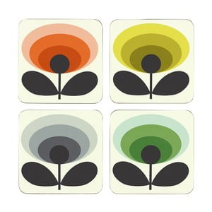 Set 4 x suport pahar Orla Kiely Flower