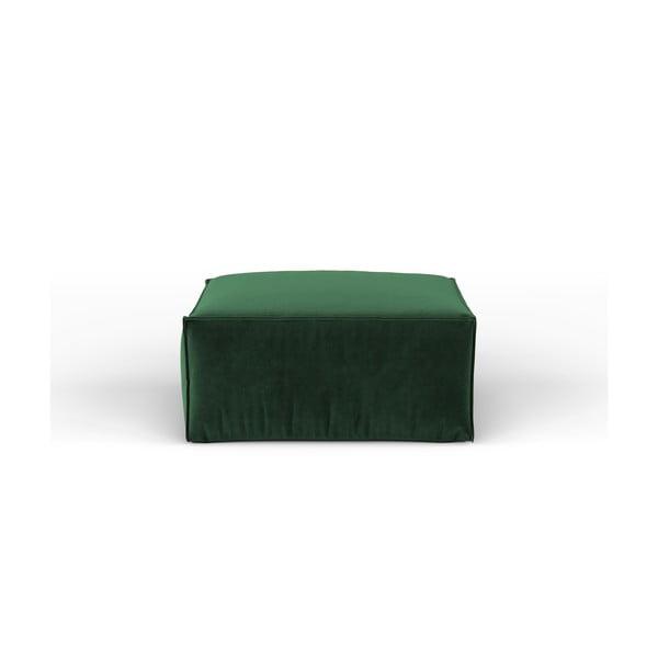 Lahvově zelená sametová taburetka Kooko Home Opera