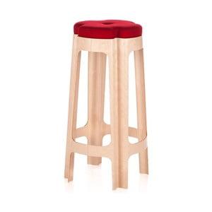 Barová židle Bloom 66 cm, s červeným sedátkem