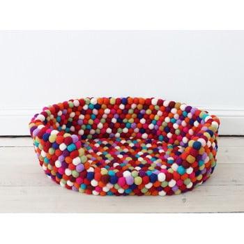 Pat cu bile din lână pentru animale de companie Wooldot Ball Pet Basket, 40 x 30 cm, roșu închis imagine