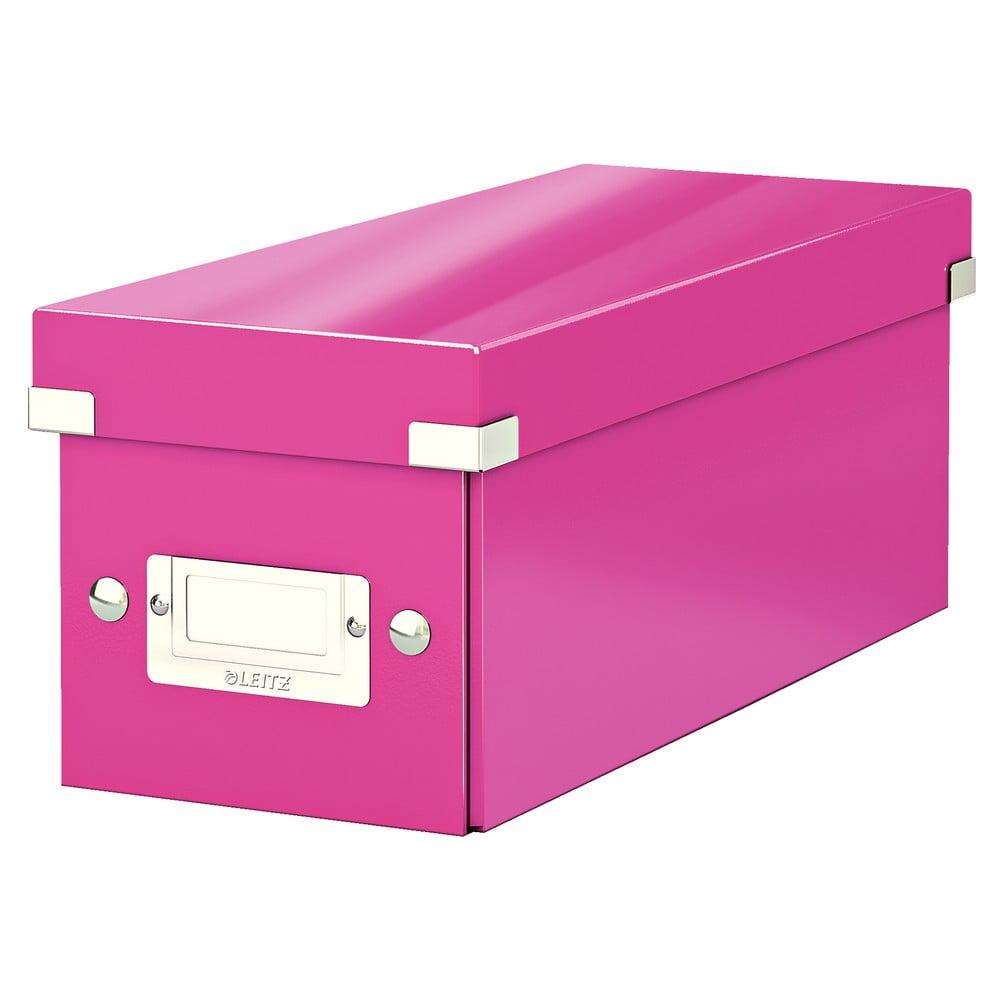 Růžová úložná krabice s víkem Leitz CD Disc, délka 35 cm