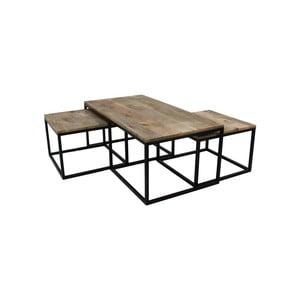 Sada 3 konferenčních stolků z mangového dřeva HSM collection Salon