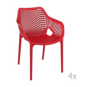 Sada 4 červených zahradních židlí s područkami Resol Grid