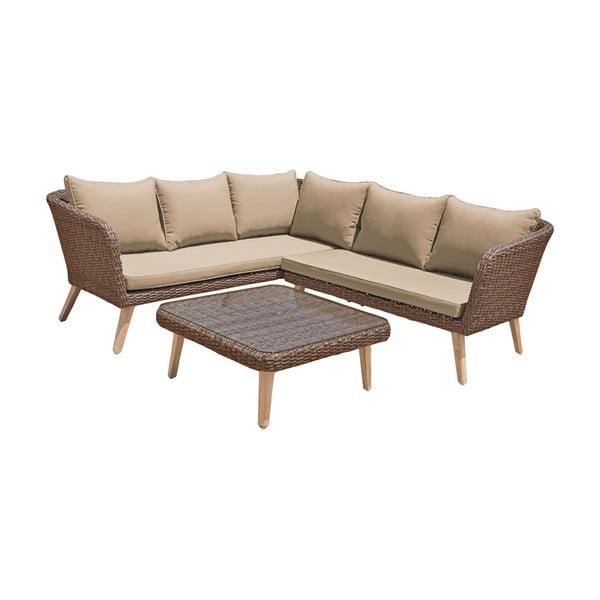 Ogrodowa sofa narożna ze stolikiem w brązowo-orzechowym kolorze ADDU Pampalona