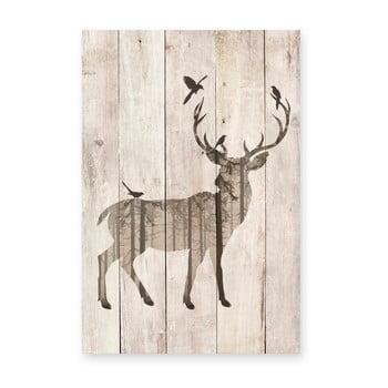 Tablou decorativ din lemn de pin Really Nice Things Watercolor Deer, 40 x 60 cm